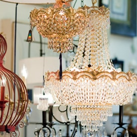 Crystal Chandeliers in Charlottesville Lighting Showroom